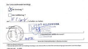 Übernahmebestätigung des negativen Ehrenpreises durch das NÖ HILFSWERK