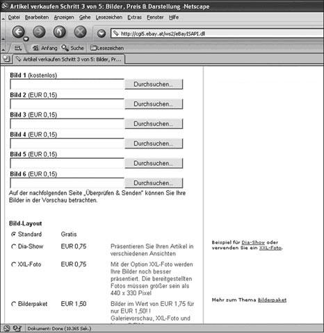 Auswahlfeld für die beiden unterschiedlichen Photodienste eBay Bilderservice und Eigener Bilderservice
