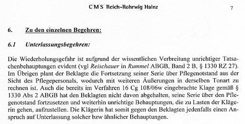 Faksimile aus der Klagsschrift NÖ HILFSWERK gegen Walter Egon GLÖCKEL