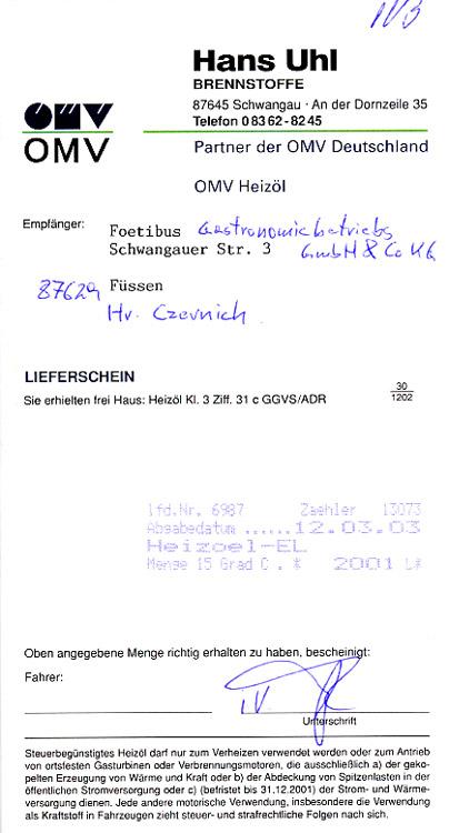 Heizöllieferung für das FOETIBUS   Faksimile: Gloeckel.info