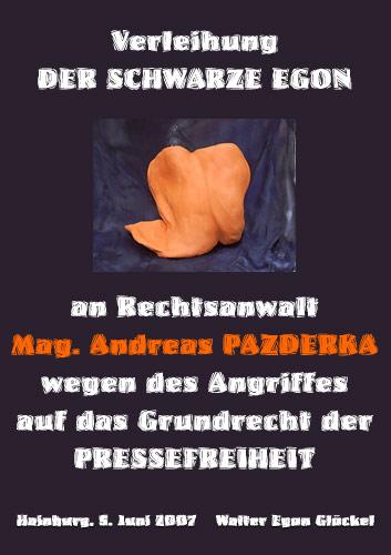 DER SCHWARZE EGON an Rechtsanwalt Mag. Andreas PAZDERKA